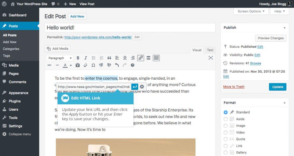 WordPress Apply Link Options