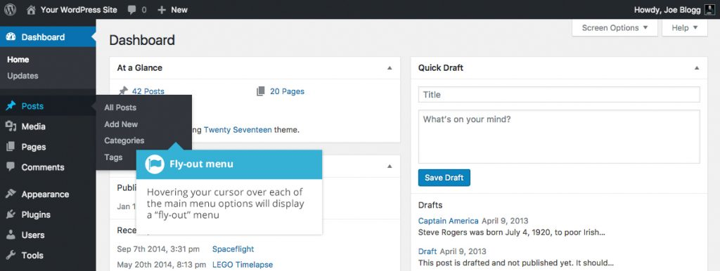 WordPress Dashboard Menu Options