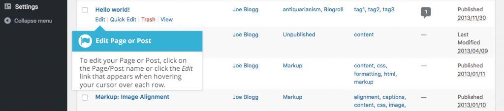 WordPress Edit Content