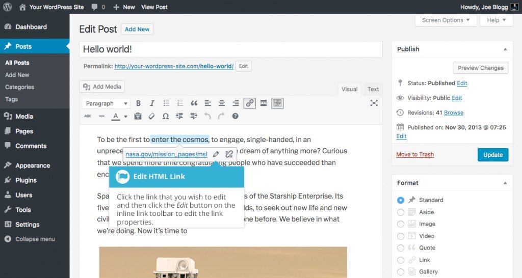 WordPress Edit Link