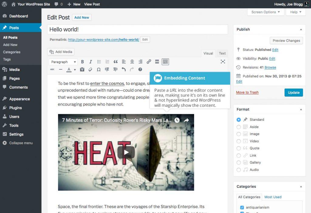 WordPress Embed Content