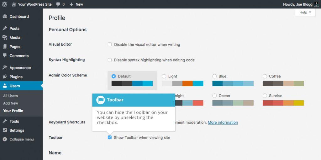 WordPress Hide Toolbar