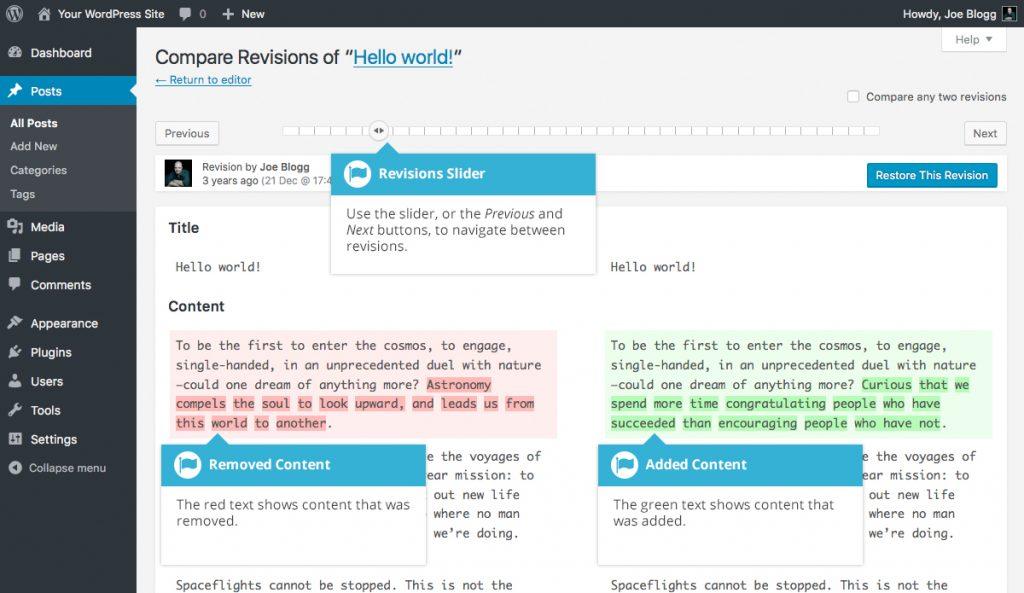 WordPress Revisions Slider